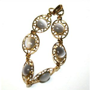 Fashion Filigree Bracelet Gray Cabuchon Stone